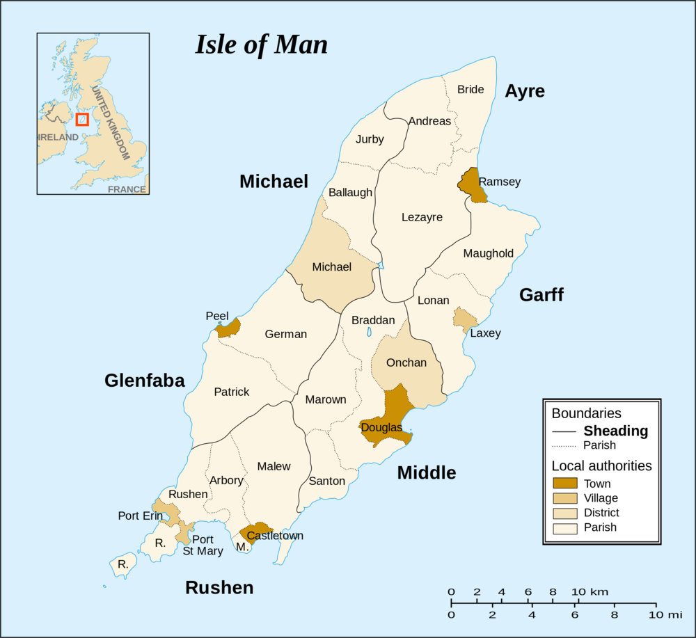 The Isle of Man, located between the UK and                       Ireland
