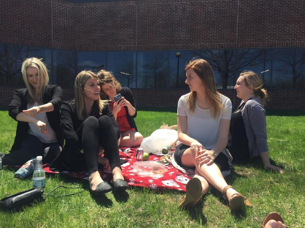 Some of the onDemand ladies enjoying lunch in the May sun outside of our headquarters!