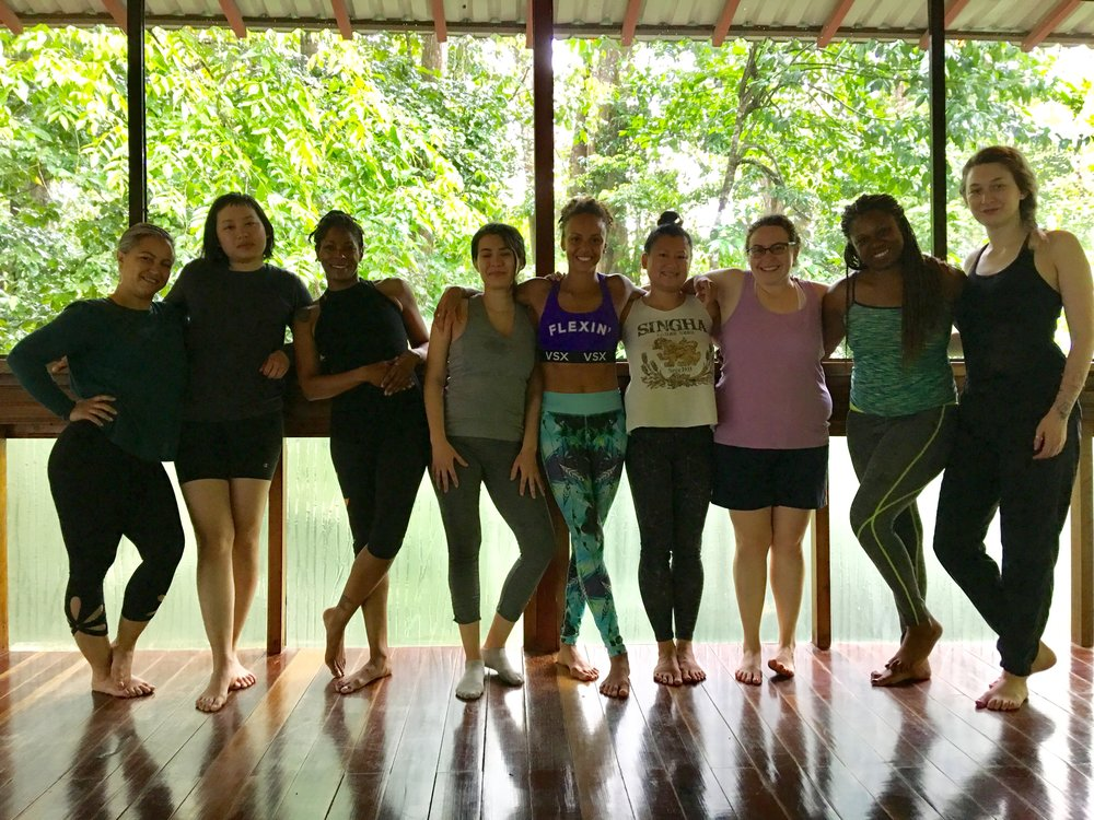 Retreaters in the treehouse yoga studio