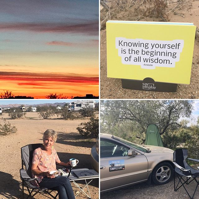 A gypsy nomad life chapter. Second leg of my earthly journey.. #desert #nomadlife #nomad #gypsysouls #gypsylife #sunset #desertsunset #serenitysedan #sereneandsimplelife #serenity #knowyourself #wisdomquotes #dailyinspiration #inspirationcards #motivationalquote #quotesandsayings #sayingsandquotes #inspired #livinginacar #carhome #serenitysedan #dailywords #dailymessage