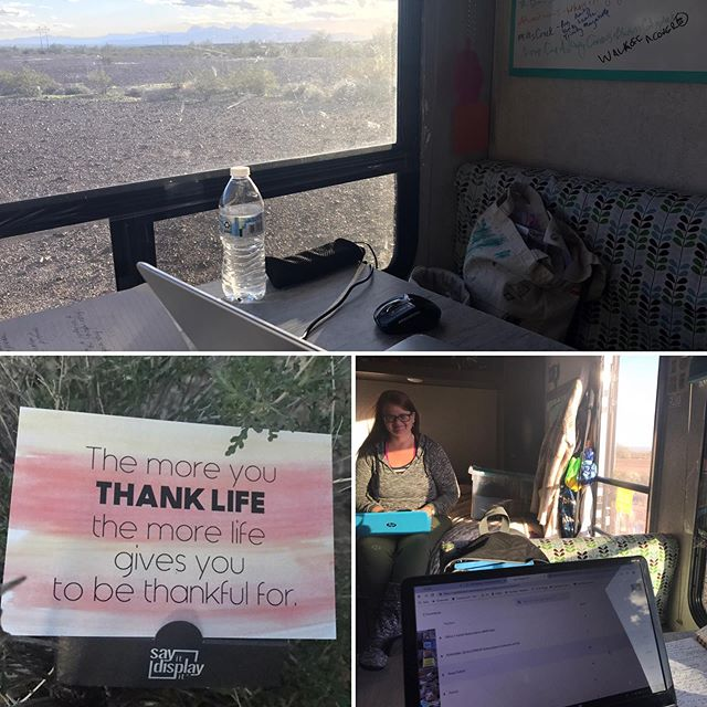 Got to spend a few hours working in my awesome romance author friends @josephinebeintema travel trailer today.. beautiful BLM land in Arizona, fabulous view.. a break from Serenity Sedan #thankfulquotes #offthegrid #nomadiclife #empowering #watercolorartwork #gratefulmindset #traveltrailer #cardweller #gypsysoul #gypsylife #myofficetoday #nomad #nomadlife #happyplace #dailyquotes #dailywords #gratitudequotes #thankfulquotes #dailyinspiration #inspirationcards #blm #blmland #watercolorartist #blessedlife #gratitudeattitude