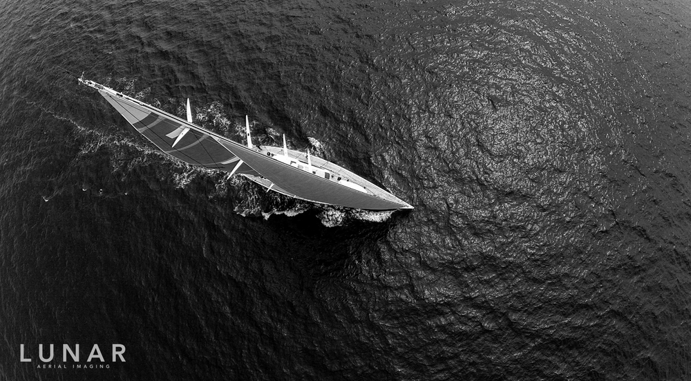 Sailing yacht, drone aerial photography by Lunar Aerial Imaging