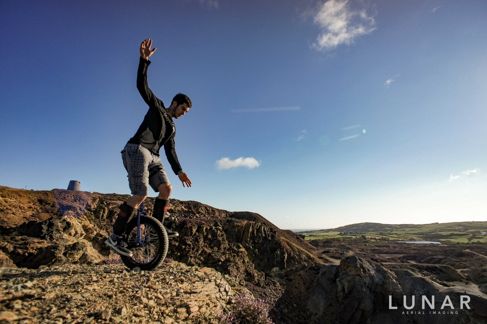 Unicycling, Copper Kingdom, Wales, drone aerial photography by LUNAR Aerial Imaging