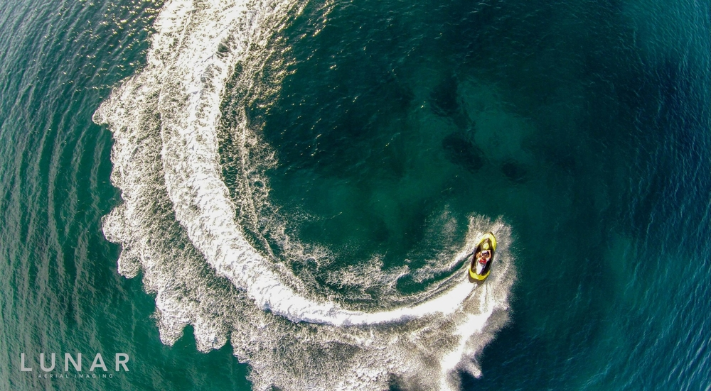 Drone aerial photograph of a jet ski,  LUNAR Aerial Imaging