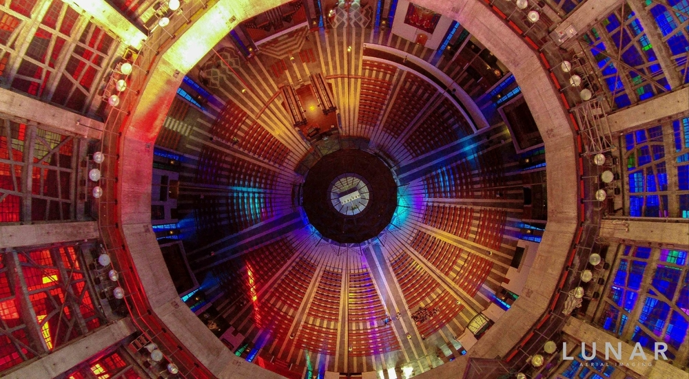 Drone flying indoors, Liverpool Metropolitan Cathedral, LUNAR Aerial Imaging