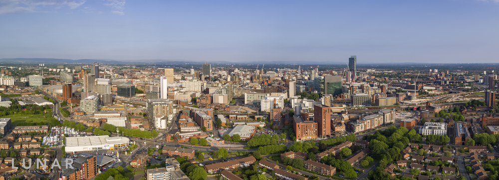 Manchester and Salford drone aerial photograph