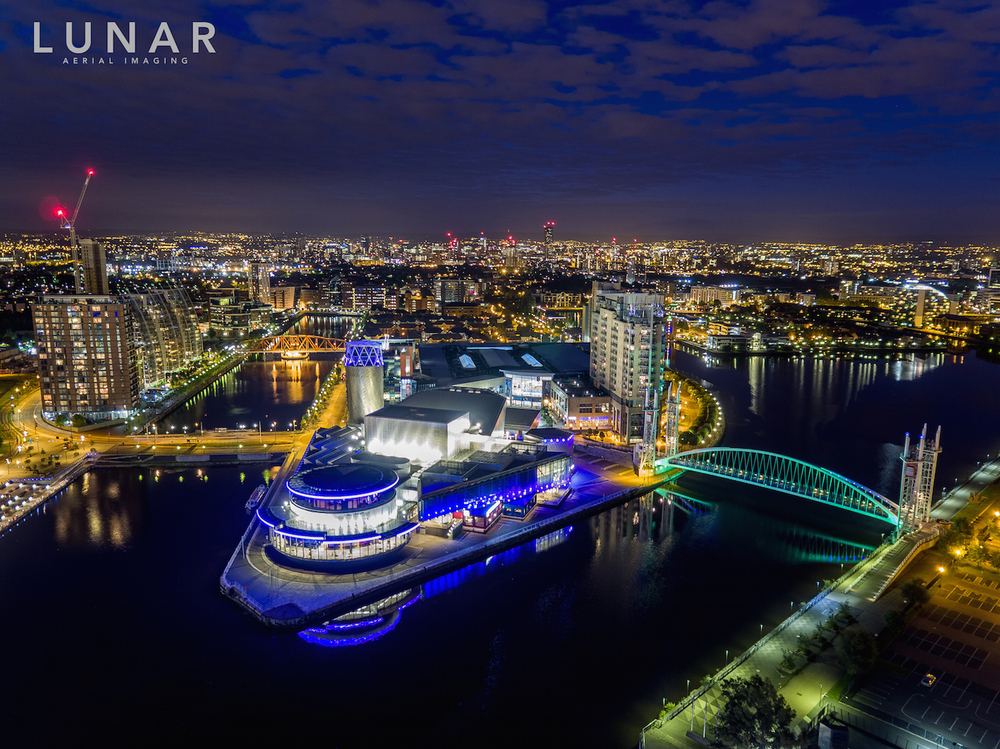 The Lowry, Salford Quays at night, Drone aerial photography and video
