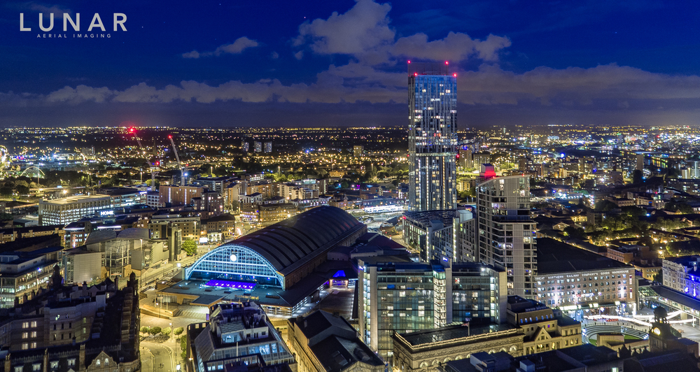 Manchester Central at night, drone aerial photography