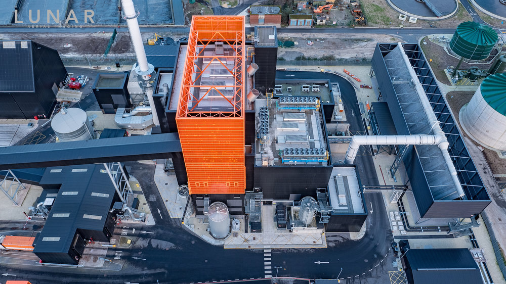 Drone footage biomass plant