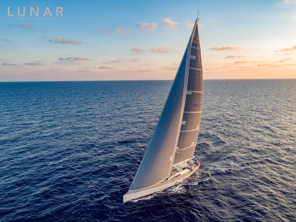 Swan sailing yacht drone photo