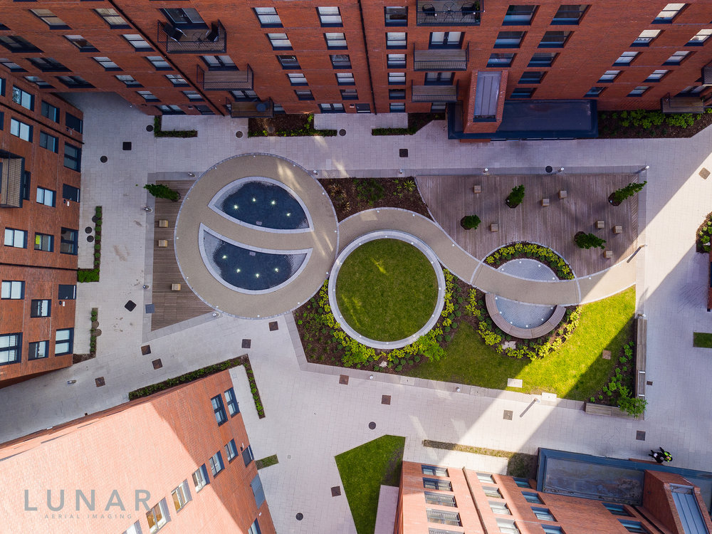 Drone photograph of courtyard in Salford