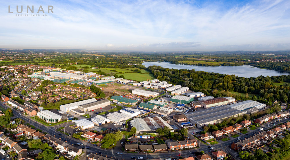 Industrial estate drone video northwest