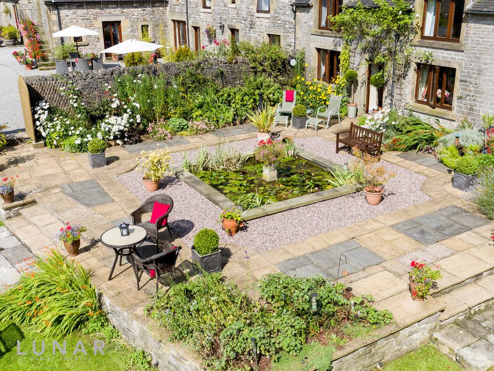 drone photo of garden
