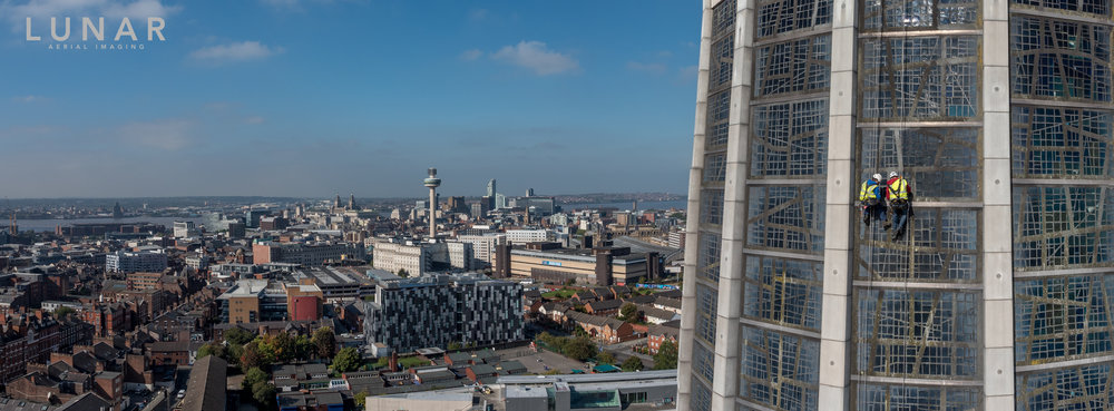 Liverpool cathedral and cityscape drone photo