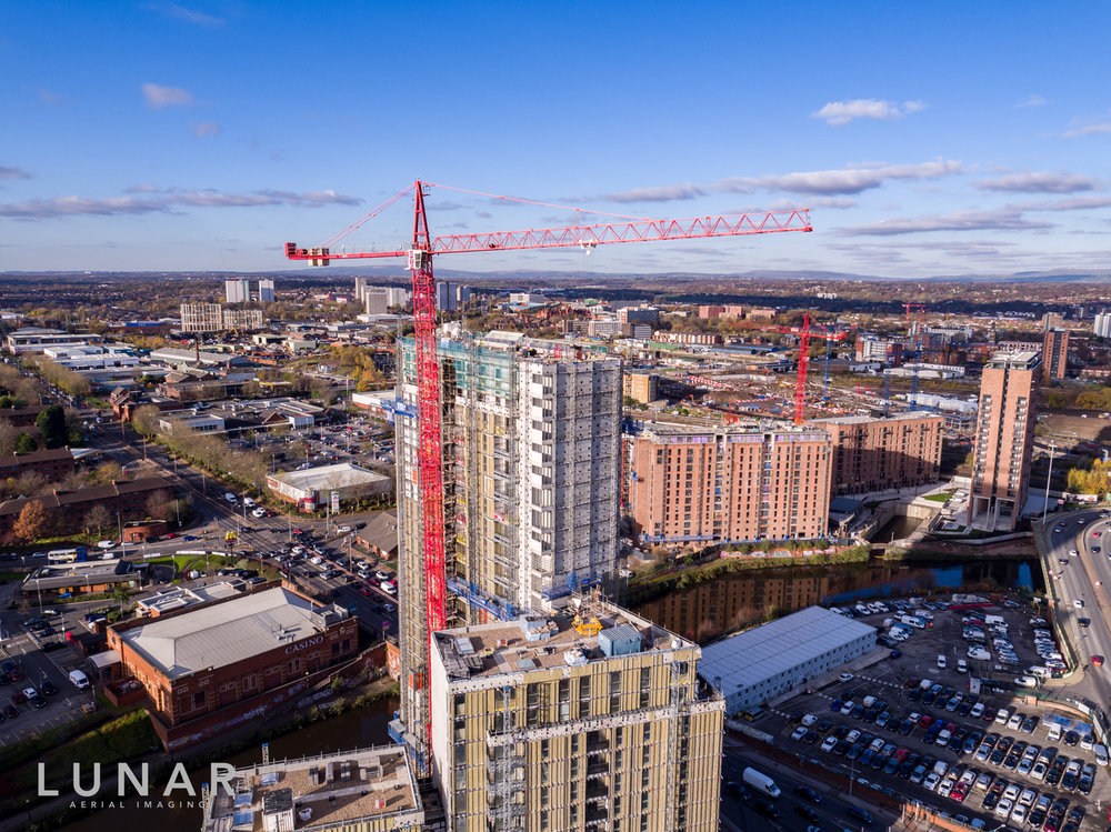 Manchester property and construction drone photograph one regent