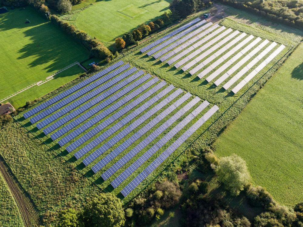 solar panel grid drone photo