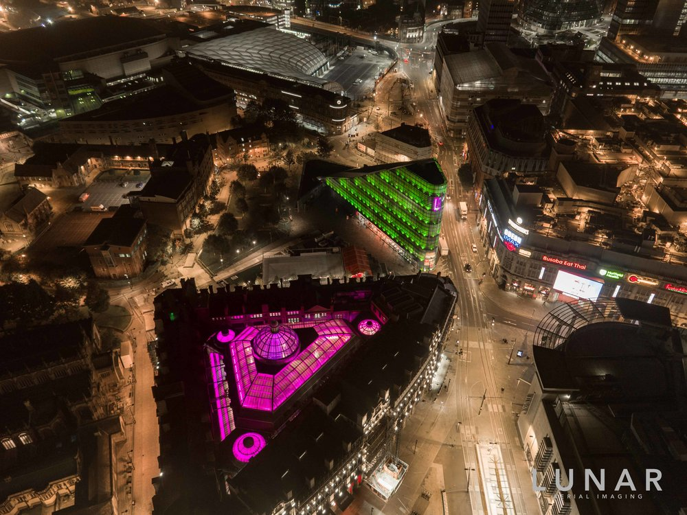drone aerial view Manchester at night