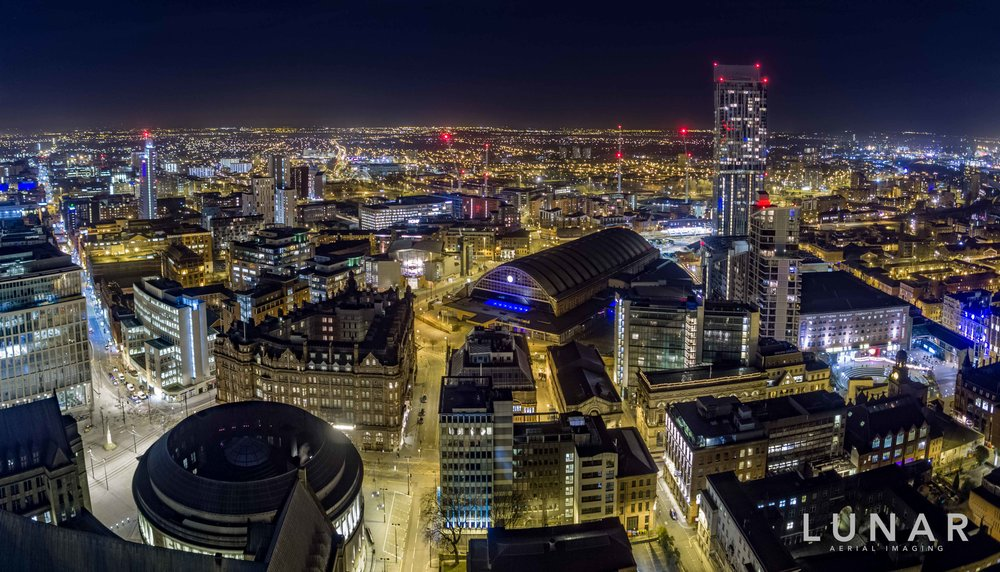 aerial view of Manchester at night - Library, and Town Hall