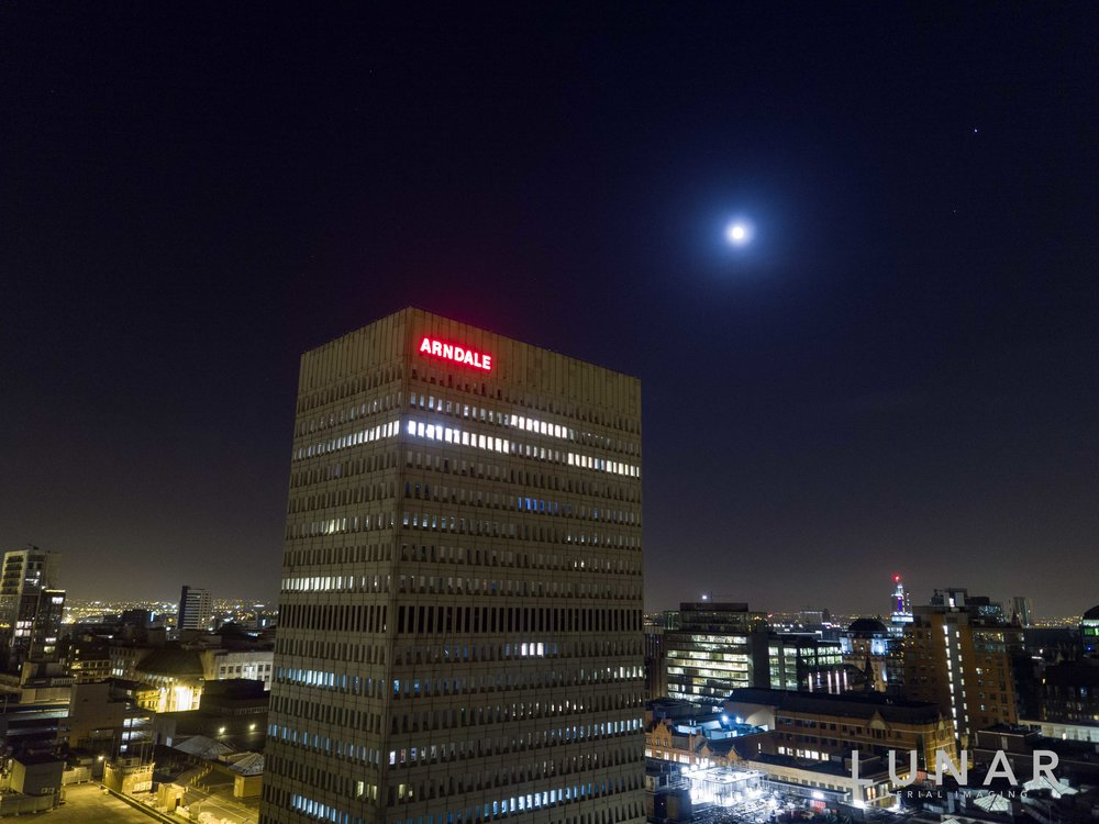 drone aerial view of Manchester Arndale at night