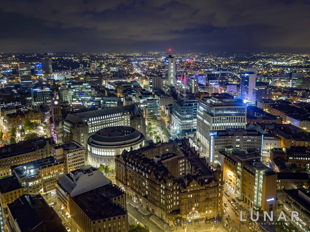 aerial viewmanchester central at night, library town hall.jpg