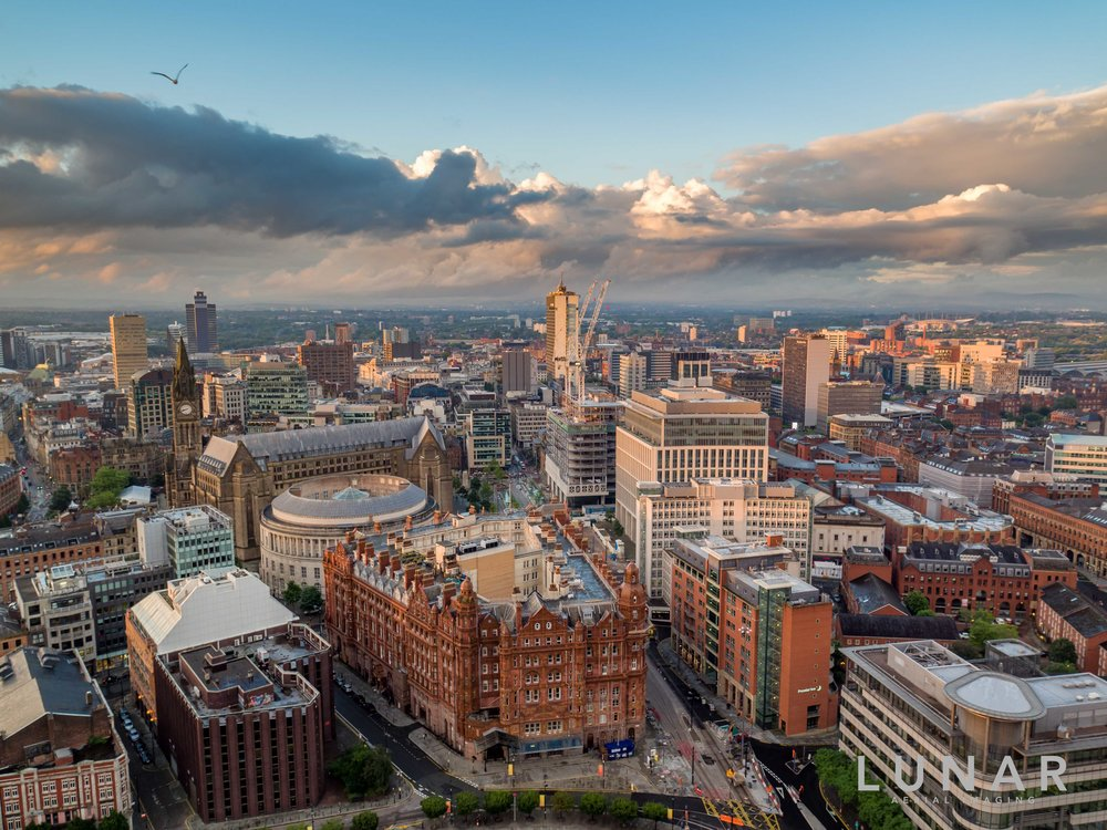 sunset/rise Manchester aerial cityscape