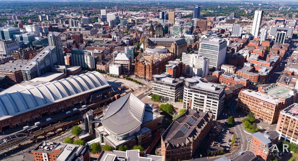 Aerial photo of Manchester city centre  including Manchester Central and Bridgewater Hall.