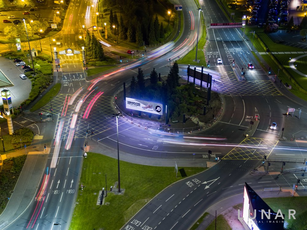 Drone photograph of roundabout at night