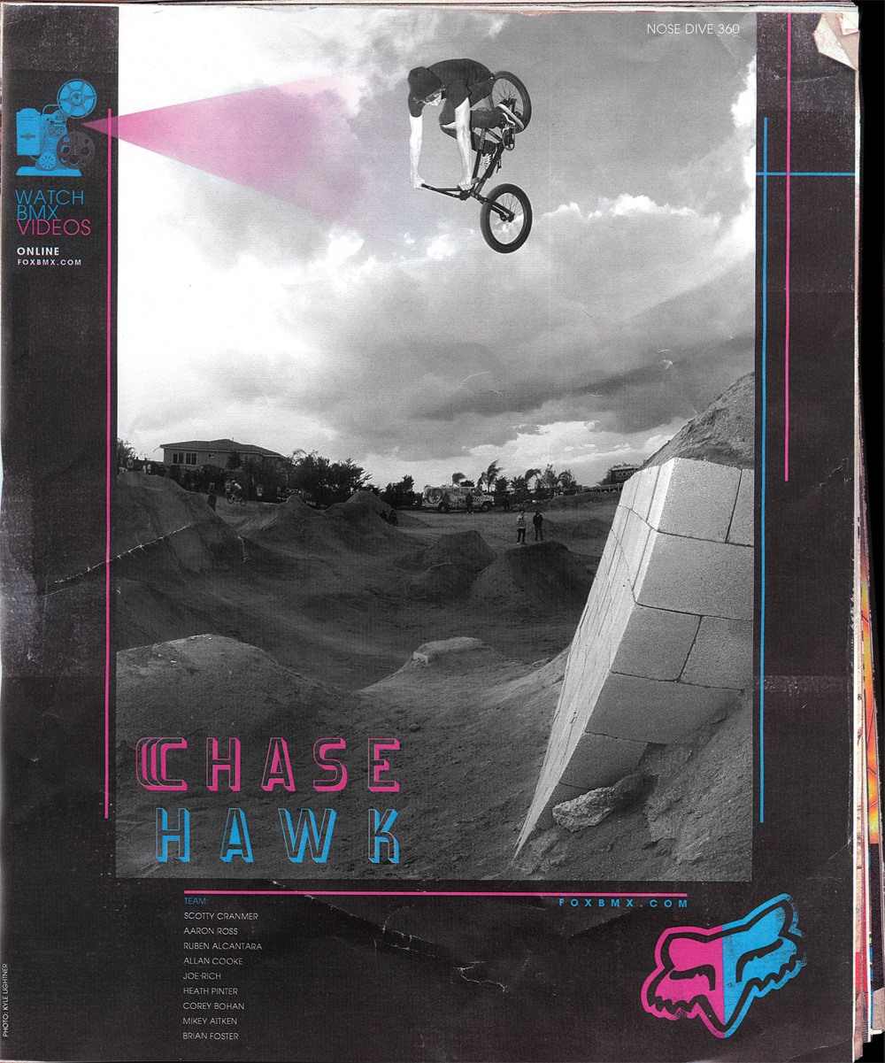 RIDE BMX Magazine • Fox Racing Ad • Chase Hawk, Nose Dive 360.