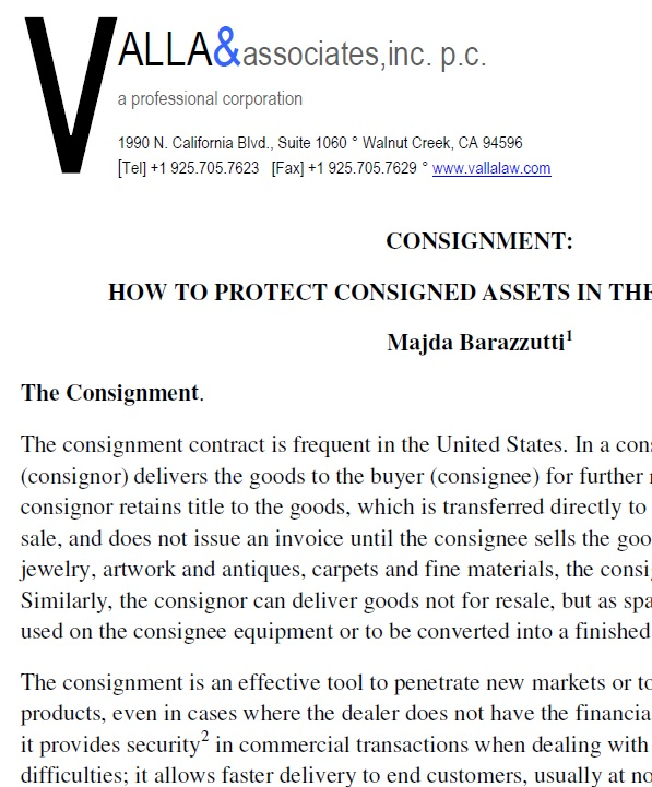Consignment: How To Protect Consigned Assets In The United States