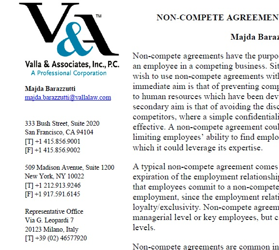 Non Compete Agreements With Employees Valla Associates Inc Pc