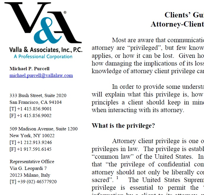 Clients Guide To Attorney Client Privilege Valla Associates