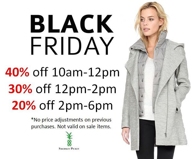We can't wait to see you tomorrow! We are opening at 10am with 40% off until noon! Happy Black Friday eve! 🛍🛍🛍 #shopping #blackfriday #deals #friday #sale #blackfridaydeals #shermanpickey