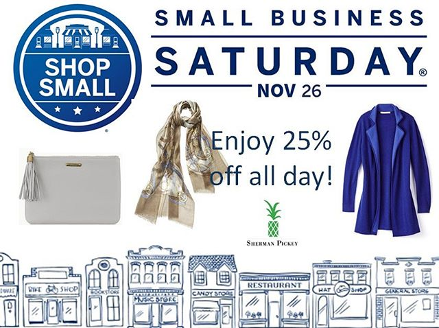 Shop small, save big! Thank you to everyone in the community for supporting Sherman Pickey 🍍🛍 We want to say thank you by offering 25% off your full price purchase today. We look forward to seeing you! 🤗 #shopsmall #shoplocal #smallbusiness #smallbusinesssaturday #Saturday #fashion #style #holiday #shermanpickey