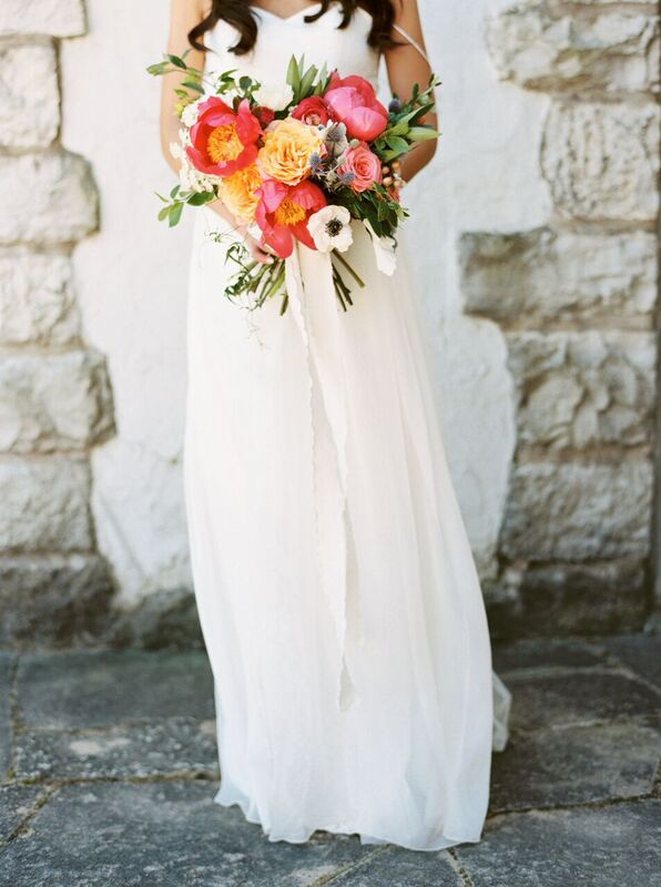 coral bridal bouquet with peonies portland oregon