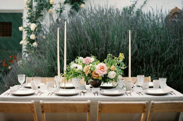table setting for spring wedding in california