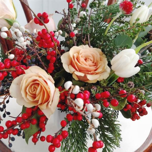christmas holiday 2015 floral arrangement by foraged floral in portland, OR