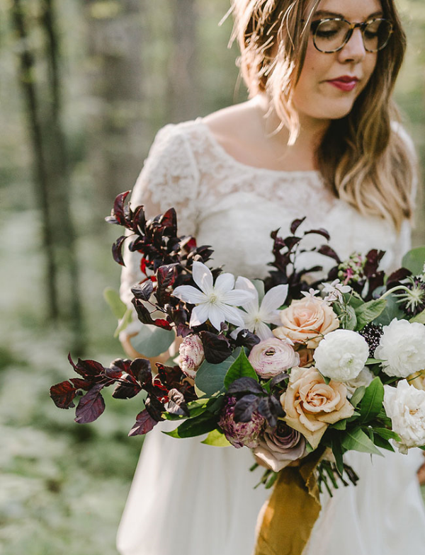 Unique fall bridal bouquet for elopement by Foraged Floral in Portland, OR