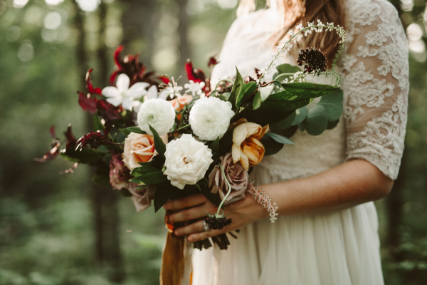 Dark and moody fall bridal bouquet by Foraged Floral, Portland OR