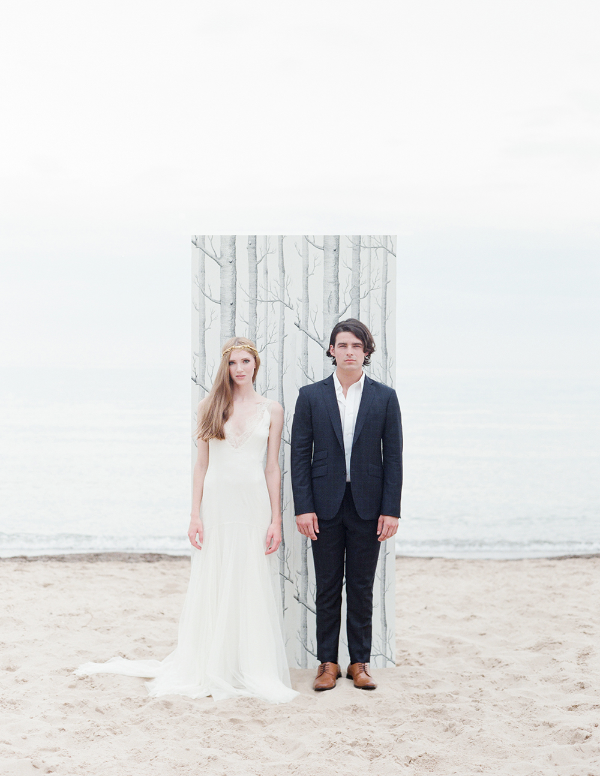 bride and groom wedding day portrait at beach wedding by Momoko Fritz