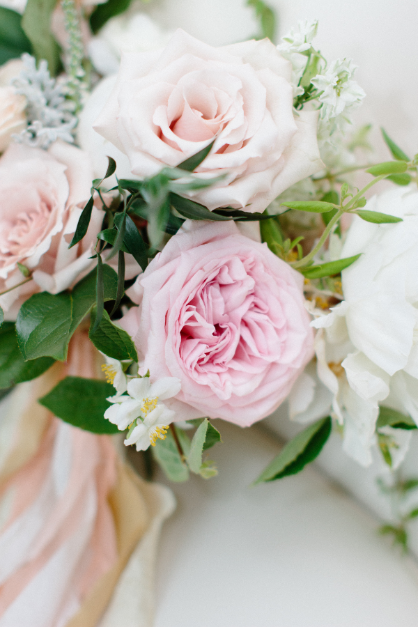 blush and white bridal bouquet by Foraged Floral in Portland, OR