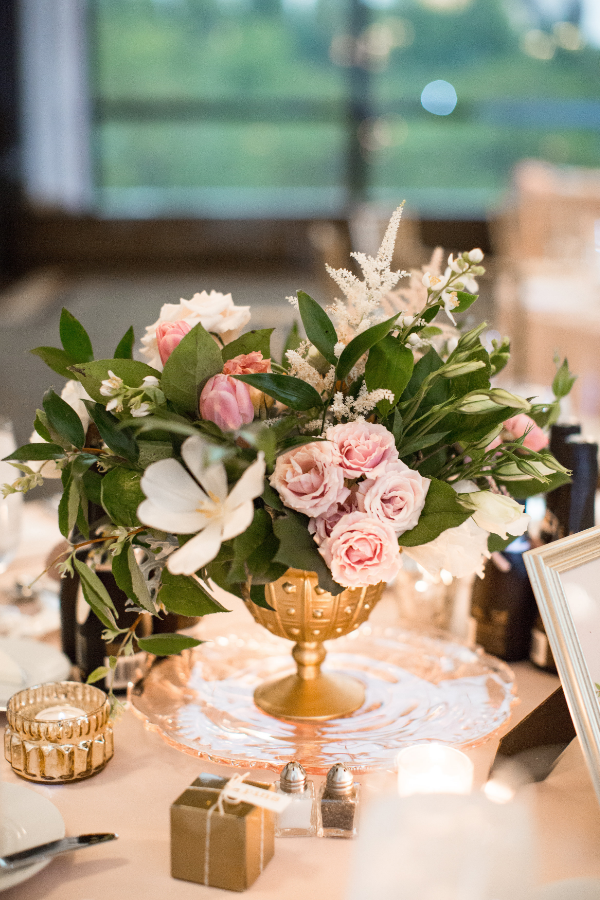 blush and white floral centerpiece by Foraged Floral in Portland, OR