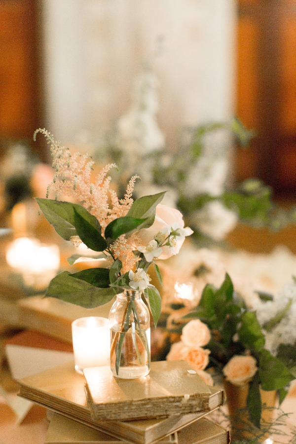 Blush and White wedding flowers for library themed wedding