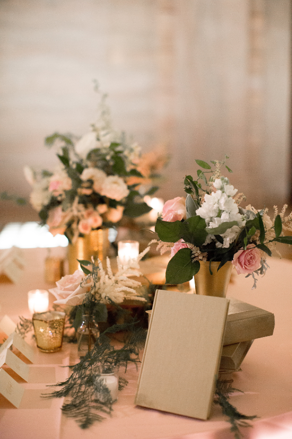 Library themed wedding flowers in gold, pink and white