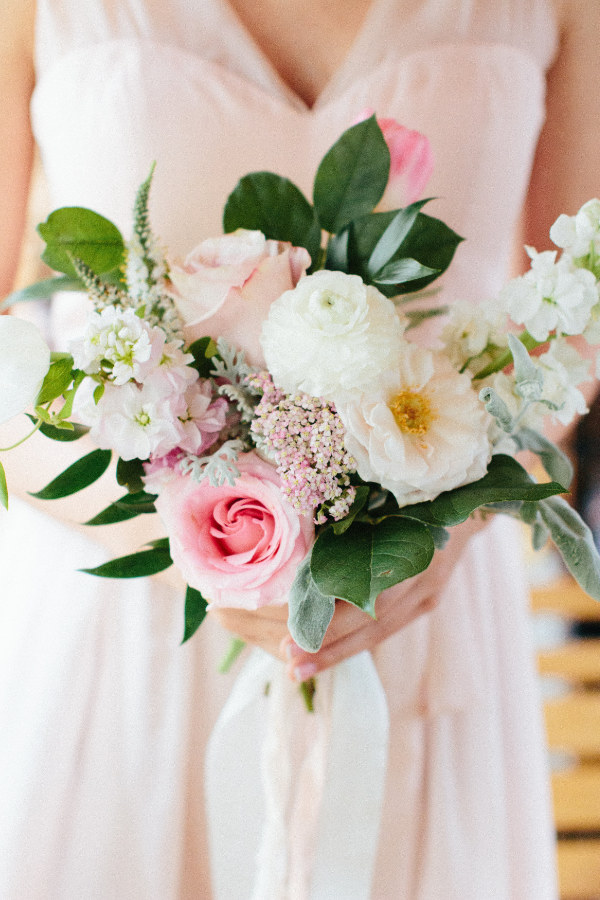 blush and white bridesmaid bouquet by Foraged Floral in Portland, OR