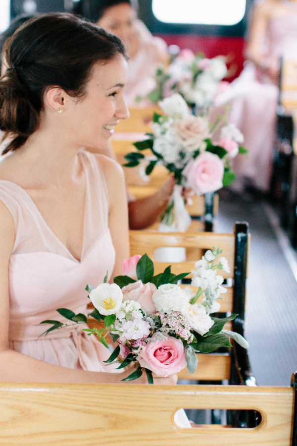 blush and white bridesmaid bouquets by Foraged Floral in Portland, OR