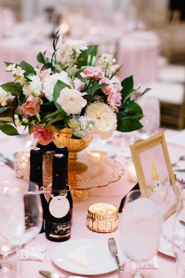 blush and white floral wedding centerpiece by Foraged Floral in Portland, OR