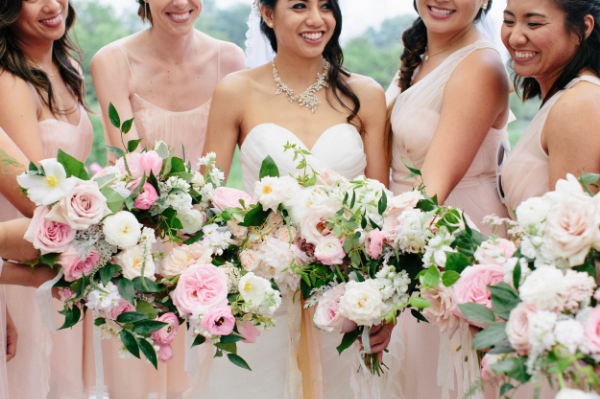 blush and white wedding bridal bouquet by Foraged Floral in Portland, OR