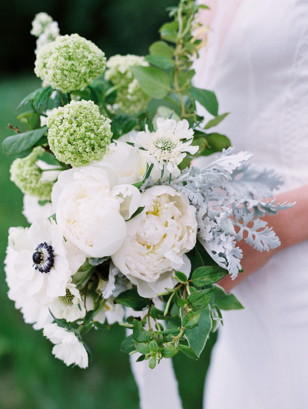 green and white bridal bouquet inspiration by Foraged Floral in Portland, Oregon