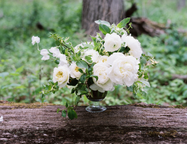 white and green wedding floral centerpiece by Foraged Floral in Portland, OR