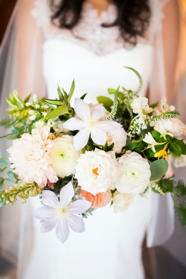 Summer bridal bouquet in peach, cream and white by Foraged floral in Portland, OR